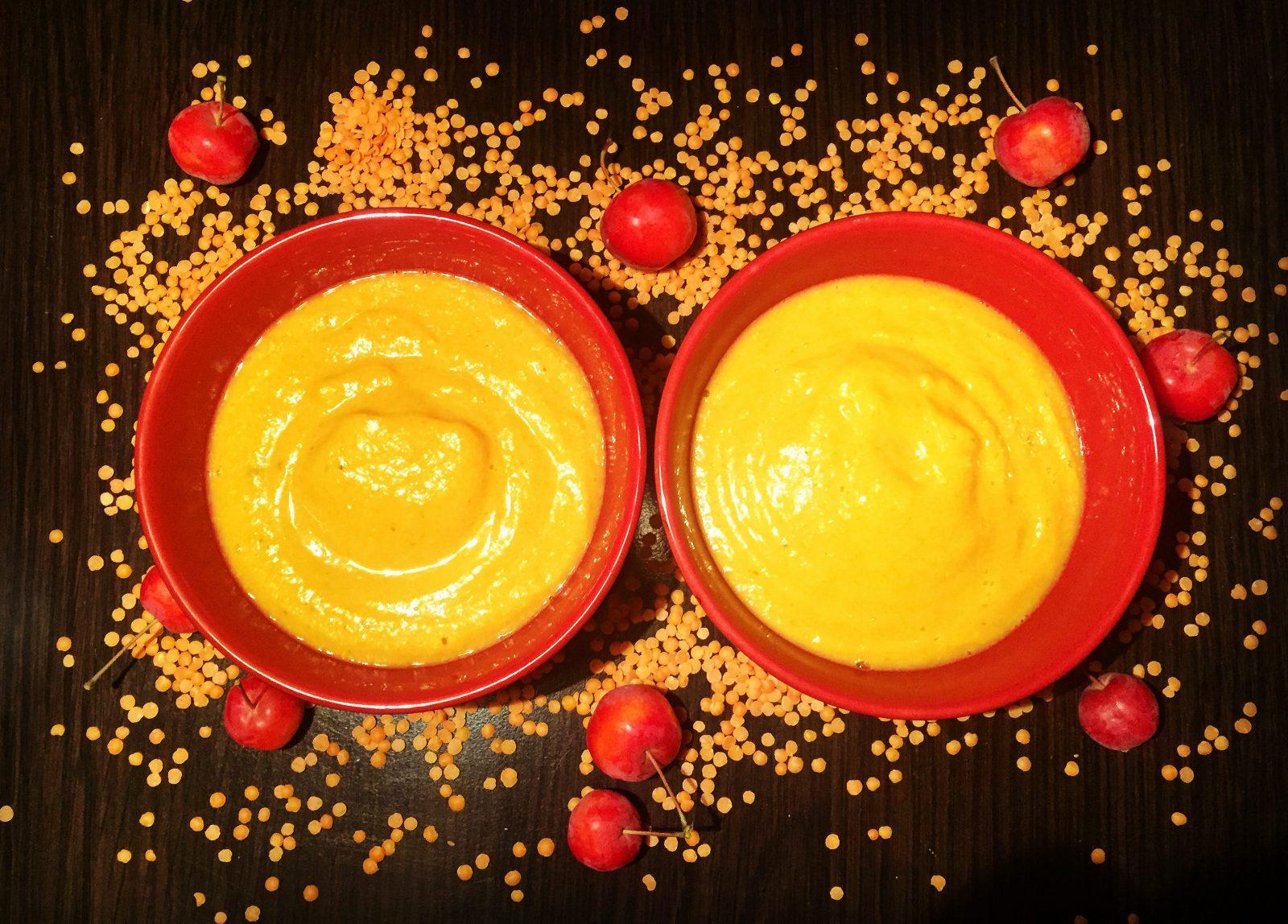 Velouté butternut lentilles corail coco curry - Vegan, sans gluten