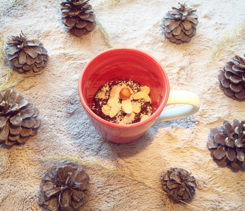 Mug cake au chocolat vegan, sans gluten, et light
