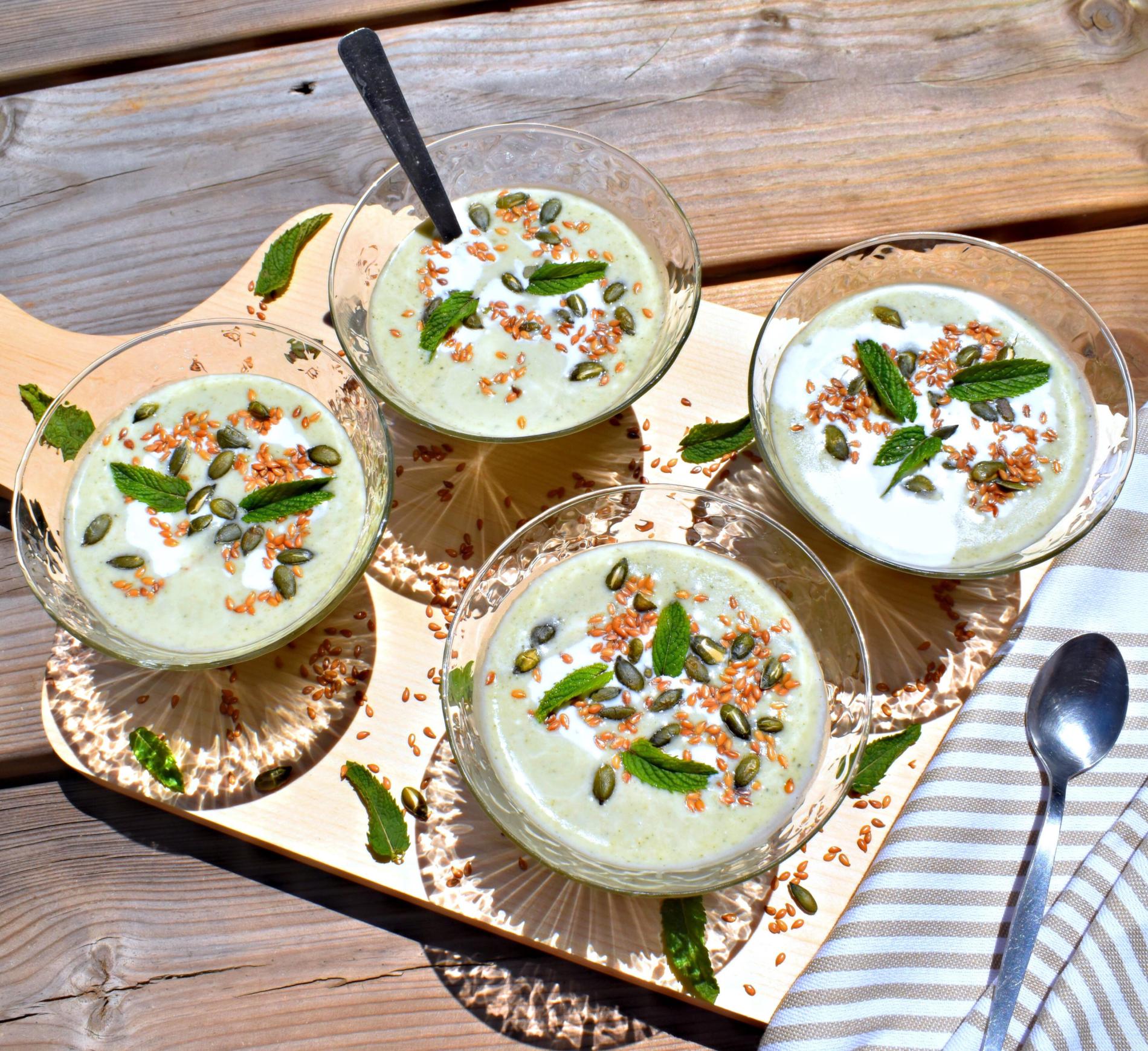 Velouté de brocolis coco-menthe {recette vegan et sans gluten}